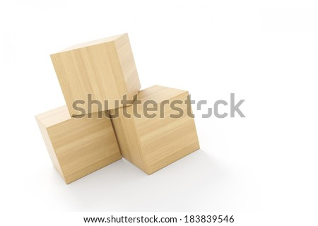 three cubes made of wood on white background isolated - stock photo