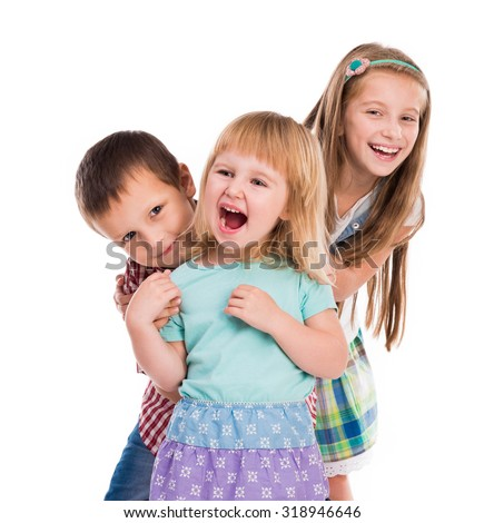three cute children smiling isolated on white background