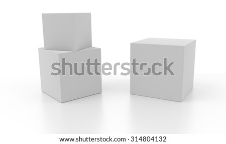 Three 3d blank concept boxes with shadows isolated on white background. Rendered illustration.