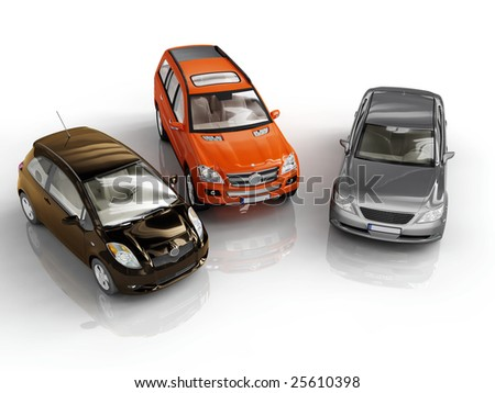 three 3d cars rendered on white background - stock photo
