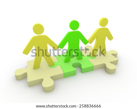 Three 3d human figures standing on puzzle pieces