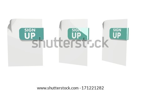 three 3d icons of a file sign up documents in various perspective isolated on white background
