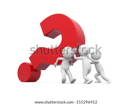 Three 3d men pushing red question mark - stock photo