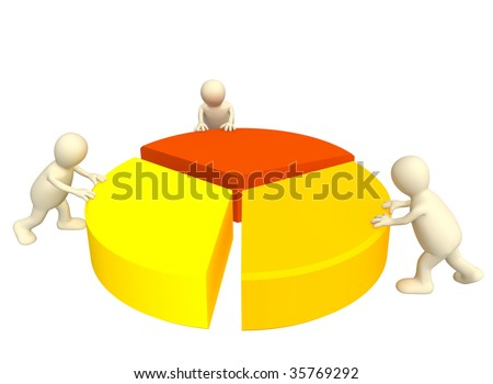 Three 3d puppets, making the round diagram. - stock photo