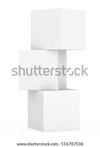 Three 3d white cubes isolated on white background. 3d rendering.