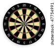 Three darts hit the bull?s-eye. Also known as a hat trick. Isolated on white - stock photo