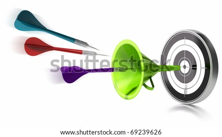 three darts hitting the center of a target helped by a green funnel, image is over a white background - stock photo