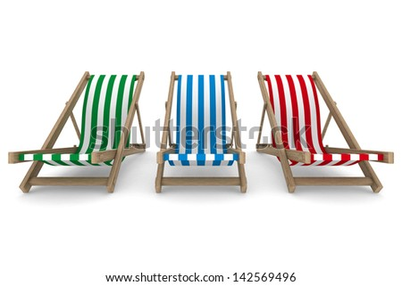 Three deckchair on white background. Isolated 3D image - stock photo