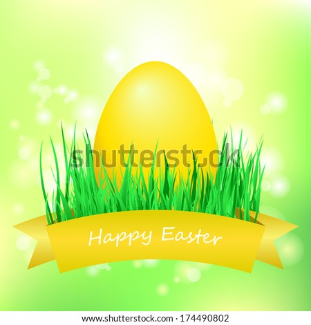 Three decorated easter egg in the grass. Easter egg on a fresh meadow.  - stock photo