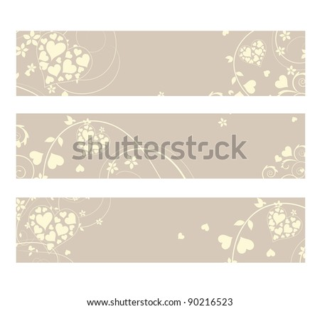 Three delicate and soft love heart labels - stock photo
