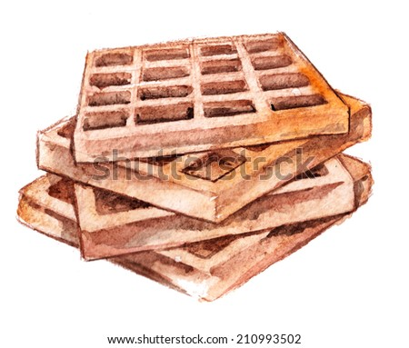 three delicious waffles watercolor on white background - stock photo