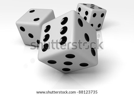 three dices isolated on white background with shadow
