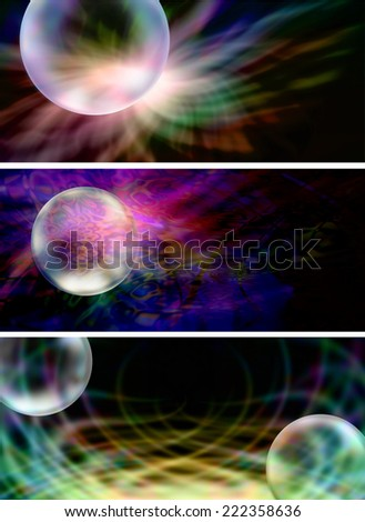 Three different colorful abstract Website Banner Headers with transparent bubbles - stock photo