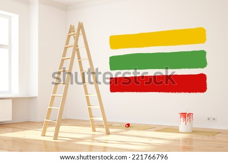 Three different colors on a wall as choice for renovation of the room - stock photo
