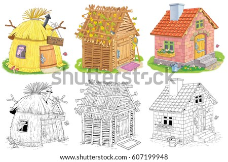 three different cute houses straw hut stock illustration 607199948