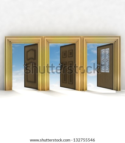 three different doorway your of life  illustration - stock photo
