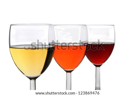 Three different glasses of wine on a white background. Chardonnay, White Zinfandel, and Cabernet Sauvignon wines in three overlapping wineglasses.