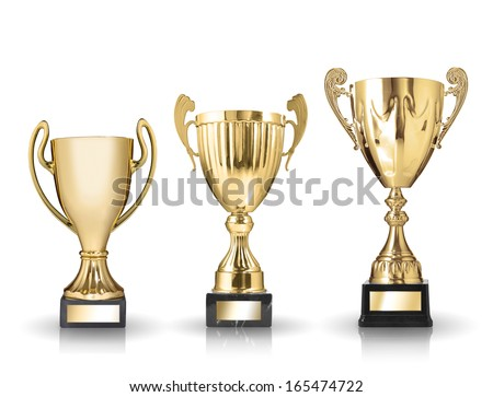 three different kind of golden trophies. Isolated on white background - stock photo