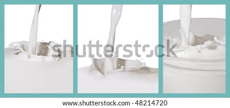three different milk splash - stock photo