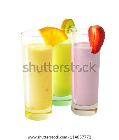 Three different milkshakes with fruits isolated on white background