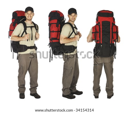 three different pose of young caucasian traveller isolated on white - stock photo