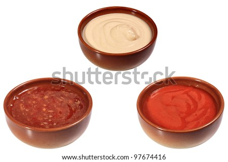 three different sauces  for mix grill - stock photo