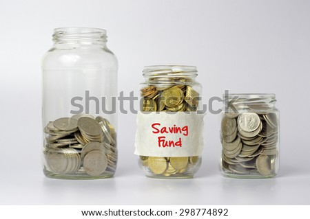 Three different size of jars with Saving fund text - Financial Concept