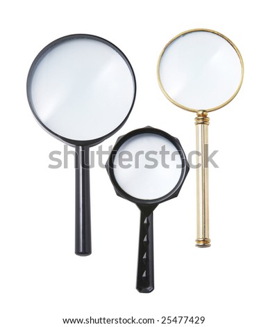 three different size of magnifying glass with clipping path - stock photo