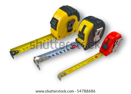 Three different size tape measure on a white background