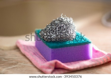 Three different sponge for washing.Selective focus - stock photo