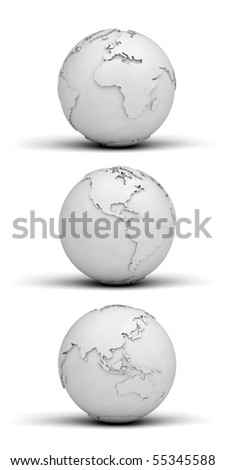 Three different views of the globe made out of paper - stock photo