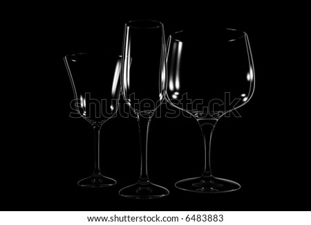 Three different wine glass on black background - 3d render