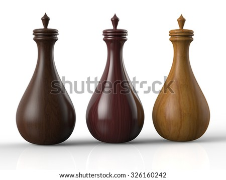 Three different wooden potion bottles