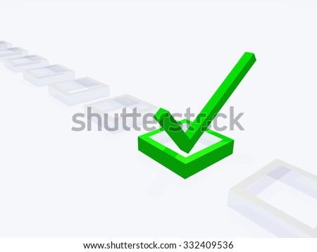 Three Dimension Check Mark - stock photo