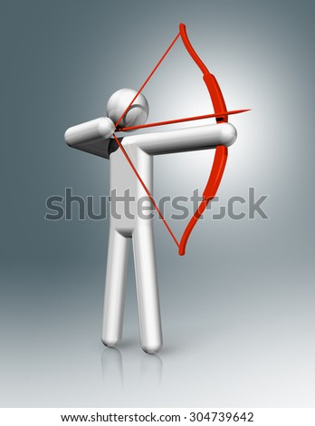 three dimensional archery symbol - stock photo
