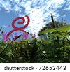 three-dimensional, Arrangement on March 8 from grass, trees, flowers, red figure eight, and other vegetation - stock photo