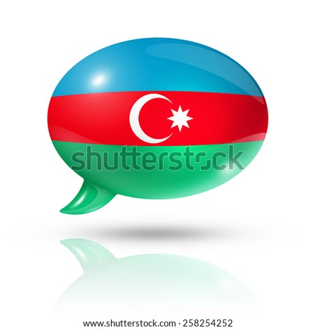 three dimensional Azerbaijan flag in a speech bubble isolated on white with clipping path - stock photo