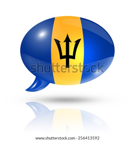 three dimensional Barbados flag in a speech bubble isolated on white with clipping path - stock photo