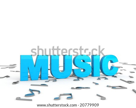 three dimensional blue music text with musical notes - stock photo