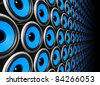 three dimensional blue speakers wall - stock photo