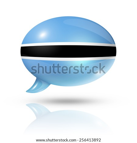 three dimensional Botswana flag in a speech bubble isolated on white with clipping path - stock photo