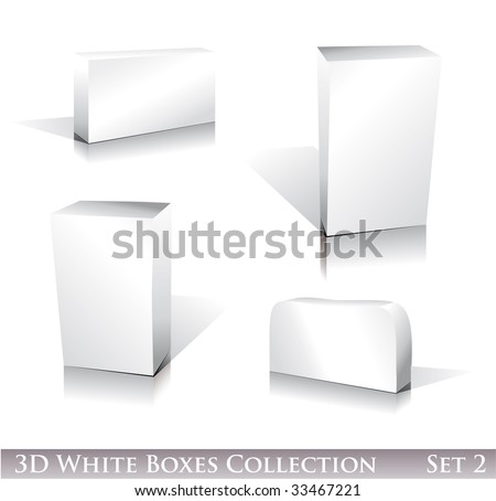 Three dimensional Boxes Icon set with reflection and shadows - stock photo