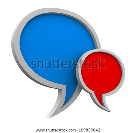 Three dimensional colorful speech bubbles on white background - stock photo