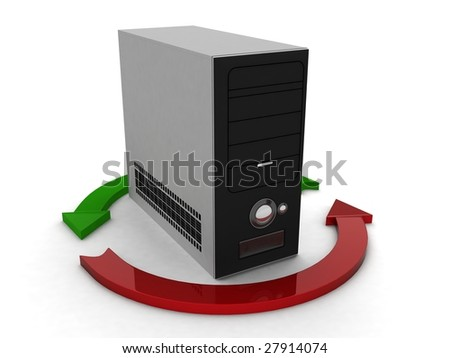 three dimensional cpu with profit and loss arrow - stock photo