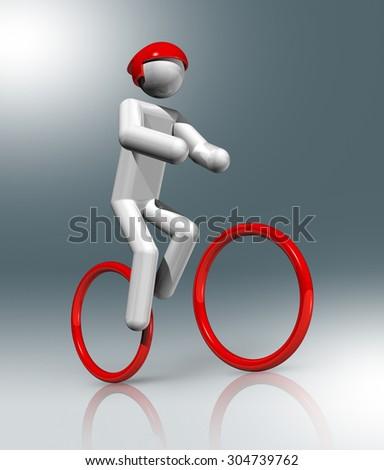 three dimensional cycling mountain bike symbol - stock photo