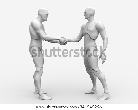 Three dimensional 3d white human shakes hands fixing deal - stock photo
