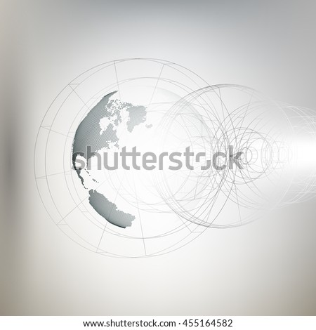 Three-dimensional dotted world globe with abstract construction on gray background, 3D illustration - stock photo