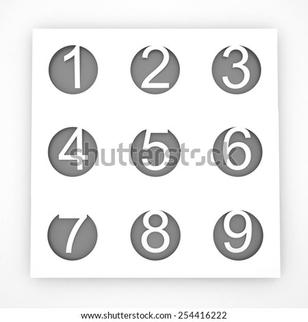 Three-dimensional figures. From one to nine. - stock photo