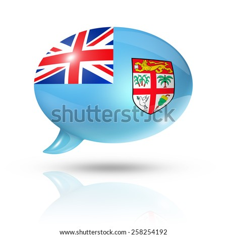 three dimensional Fiji flag in a speech bubble isolated on white with clipping path - stock photo
