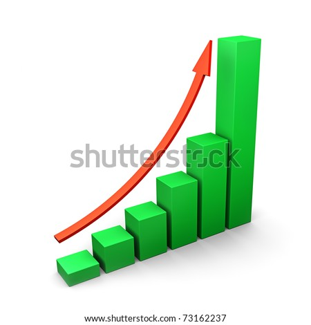 Three dimensional green bars and red arrow - stock photo